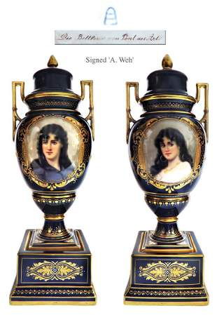19th C. Pair of Royal Vienna Vases, A. Weh Signed