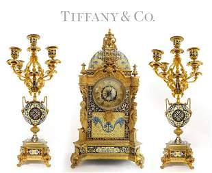French Tiffany & Co Bronze & Champleve Enamel Clock Set