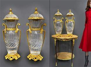 Monumental Pair of French Bronze/Baccarat Crystal Vases