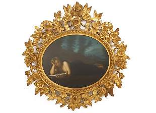 The Study Girl, 19th C. Rococo Framed Oil on Board