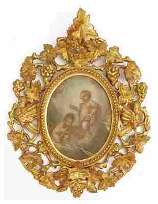 Cherubs, 19th C. Rococo Framed Oil on Board Painting