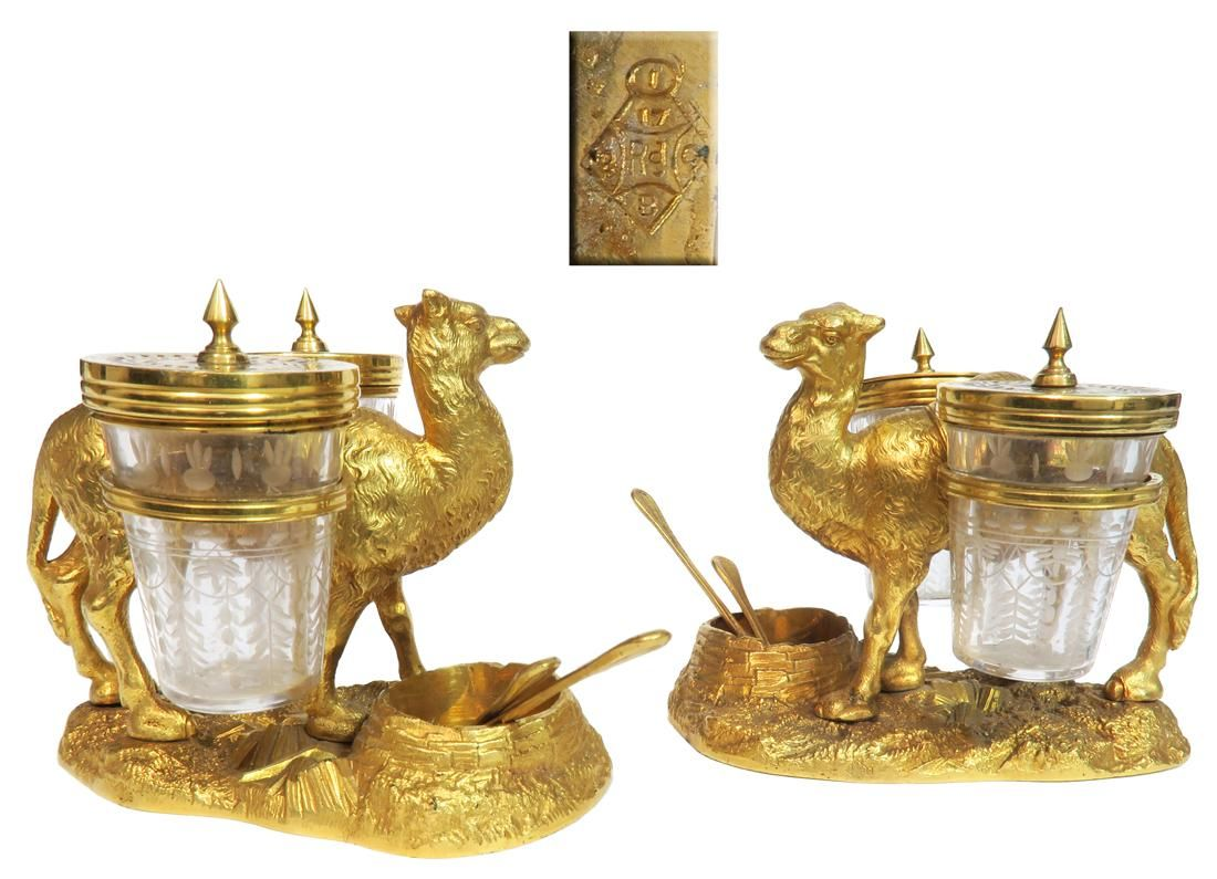 Pair of Gilt Bronze Crystal Camel Figural Condiment Set
