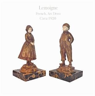 A Pair Of Gilt Bronze Sculptures, Lemoigne Signed