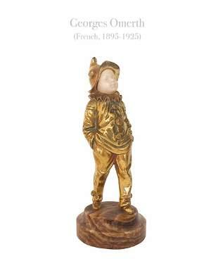 A Pierrot Boy, A Georges Omerth Gilt Bronze Figurine