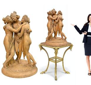 The Three Graces, A Large French Terra Cotta Sculpture
