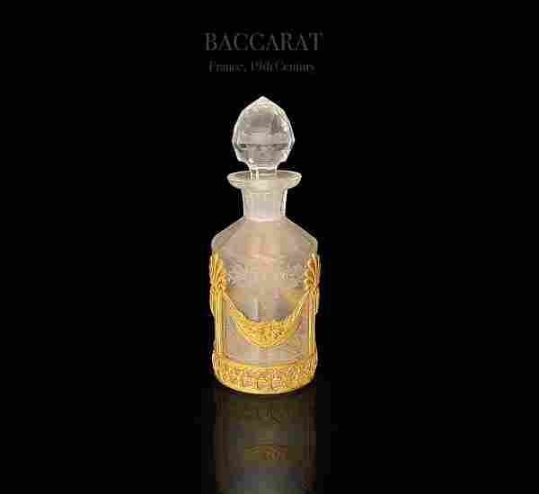 19th C. Baccarat Engraved Crystal Bronze Perfume Bottle