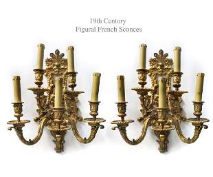 19th C. Pair of French Figural Bronze Sconces