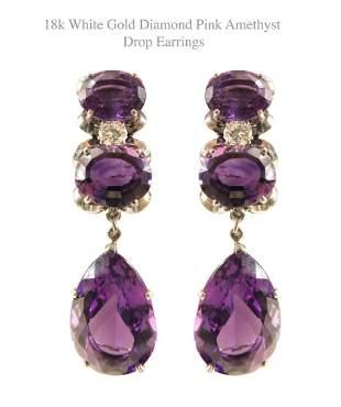 18k White Gold Diamond Pink Amethyst Drop Earrings