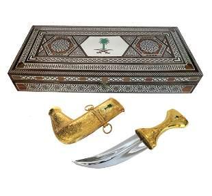 Saudi Arabian Gold-Plated scabbard dagger In Inlaid Box