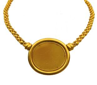 22 k Yellow Gold Islamic Quran Verse Plaque Necklace