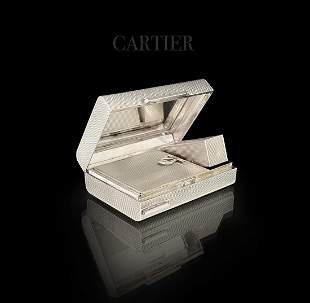 A CARTIER Fine Quality Silver Makeup Vanity Case