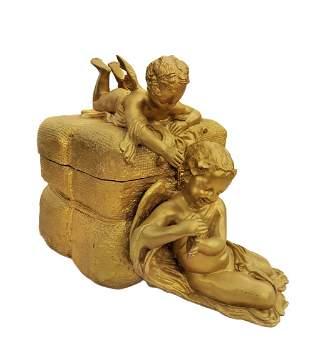 A Large Art Nouveau French Bronze Figural Centerpiece