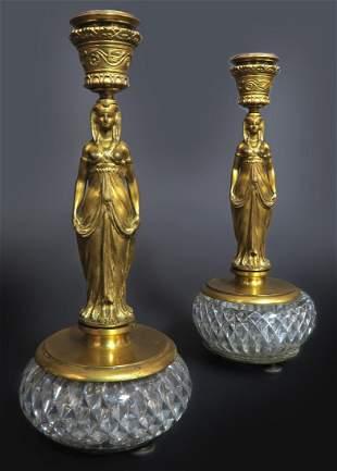 French Empire Gilt Figural Bronze/Baccarat Candlesticks