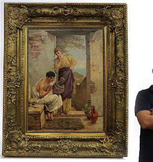 A Large 19th C. Continental Framed Oil on Canvas