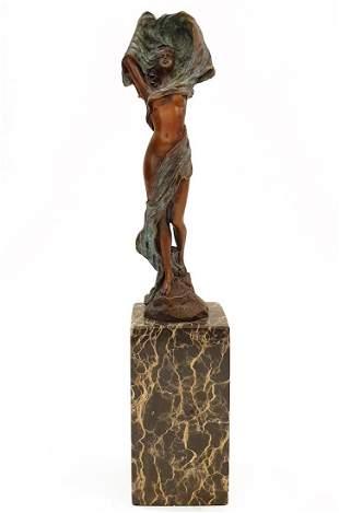 Lady Wind, Art Deco Patinated Bronze Figurine, Signed