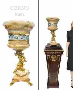 E. Cornu Champleve Enamel Bronze & Onyx Jardiniere