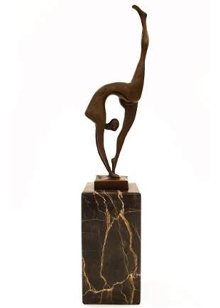 Female Acrobat, A MILO Modern Abstract Bronze statue