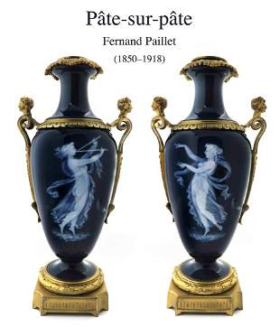 A Pair of Bronze PATE-SUR-PATE Vases by Fernand Paillet