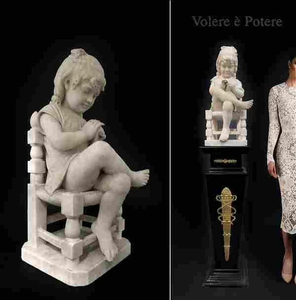 Volere e Potere, Italian Marble Figure of Seated Girl
