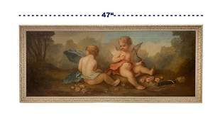 19th C. French Oil on Canvas Painting of Cupids Playing