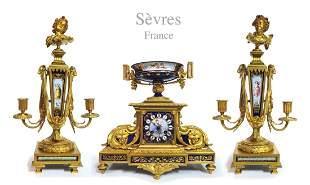 19th C. Sevres Gilt Bronze Jeweled Cobalt Clock Set