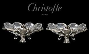 Pair of Christofle Silvered Bronze/Crystal Centerpieces