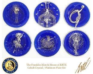 House of ERTE Decorative Cobalt Crystal Plate Full Set