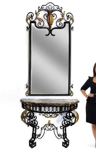 French Regence Wrought Iron Mirror & Console