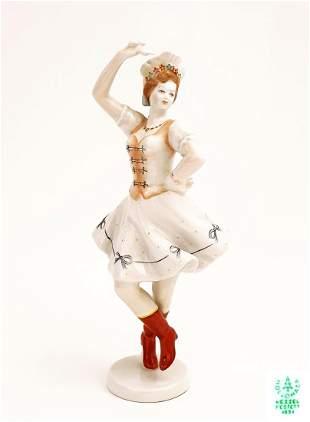 Hungarian Dancer, A Vintage Hollohaza Figurine, Signed