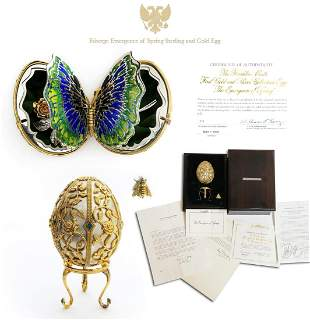 Faberge Emergence of Spring Sterling and 18K Gold Egg