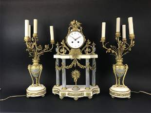 19th C. French Gilt Bronze & and Marble Clock Set