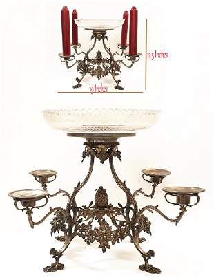 19th C. English Silver Candelabra Centerpiece, Signed