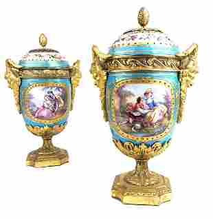 A Pair of French Sevres Porcelain & Bronze Vases