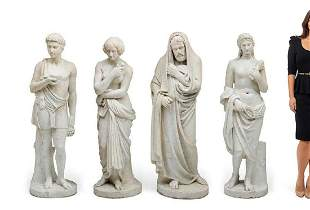 A SET OF FOUR CARVED MARBLE FIGURES OF THE FOUR SEASONS