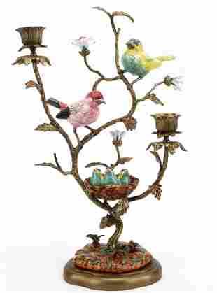 Song Birds & Babies Bronze / Porcelain Candlestick