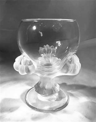 A LALIQUE Bagheera Pattern Crystal Vase, Signed