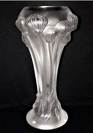 A LALIQUE Rose Crystal Vase, Signed