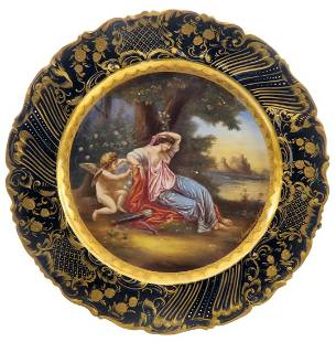 19th C. Royal Vienna Decorative Hand Painted Plate