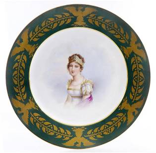 Marie Louise Portrait, 19th C. SEVRES GILDED PLATE