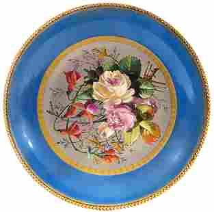 19th C. Sevres Style Bronze Mounted Floral Plate