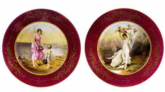 A Pair Of 19th C. Royal Vienna Hand Painted Plates