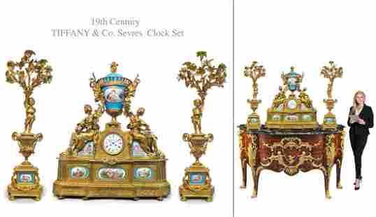 Monumental TIFFANY & Co Serves Figural Bronze Clock Set