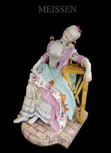 Sleeping Maiden, 19th C. Meissen Porcelain Figurine