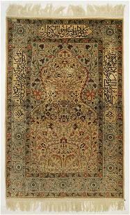 A Large Turkish Hereke Silk Prayer Rug