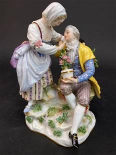 Two Lovers, A German Meissen Porcelain Figurine Group