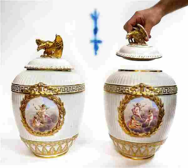 Large Pair of 19th C. Berlin KPM Vases