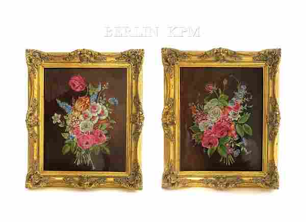 A Pair of 19th C. Floral Berlin KPM Plaques