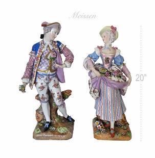 Very Large Pair of Genuine Meissen Figurines, 19th C.