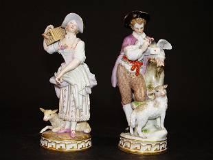 A Pair of 19th Century German Meissen Figurines
