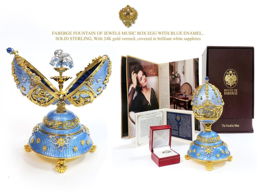 FABERGE FOUNTAIN OF JEWELS MUSIC BOX EGG